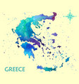 hand drawn watercolor map greece vector image vector image