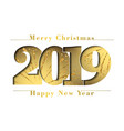 happy new year and merry christmas card gold vector image vector image