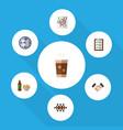 icon flat oneday set of checklist clock coffee vector image vector image
