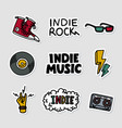 indie rock music sticker set of vector image vector image
