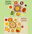 italian cuisine pasta dishes icon set food design vector image vector image