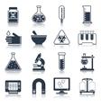 Laboratory equipment icons black vector image
