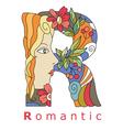 Letter R romantic
