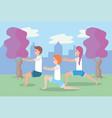 man and women training yoga balance pose vector image