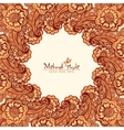 Mehndi henna tattoo style round frame vector image vector image