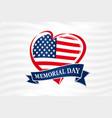 memorial day usa heart poster vector image vector image