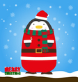 Merry Christmas penguin in Santa Claus suit vector image