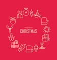 merry christmas round design concept vector image