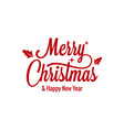 merry christmas vintage lettering with xmas sign vector image