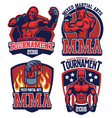mma fighter badge set vector image vector image