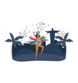 native woman dancing celebrating brazil carnival vector image vector image