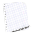 notebook sheet with metal ballpoint vector image vector image