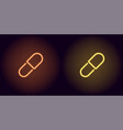 orange and yellow neon medicine pill vector image vector image