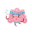 pink humanized brain running marathon cartoon vector image