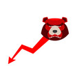 red bear down arrow exchange trader business vector image vector image