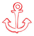 red outlined anchor or color vector image vector image