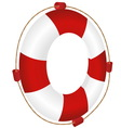 red ring-buoy with rope vector image