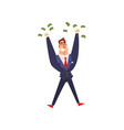 rich successful businessman character with a lot vector image vector image