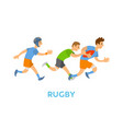 rugsports youth running with ball and chasing vector image vector image