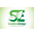 se green leaf letter design logo eco bio leaf vector image vector image