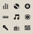 set of 9 editable music icons includes symbols vector image vector image