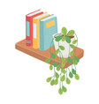 shelf with books and potted plant decoration vector image vector image