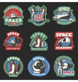 Space Flights And Research Colored Emblems vector image vector image