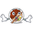 surprised jajangmyeon is placed in mascot bowl vector image vector image