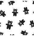 teddy bear plush toy icon seamless pattern vector image