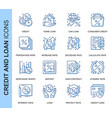 thin line credit and loan related icons set vector image