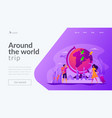traveling the world landing page template vector image