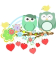 Two cute owls and bird on the flower tree branch vector image vector image