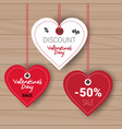 valentines day set of sale stickers discount tags vector image