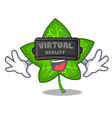 virtual reality fresh green ivy leaf mascot vector image vector image