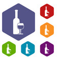 wine bottle and glass icons set vector image