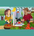 woman shopping in a farmers market vector image vector image