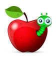 worm coming out of an apple vector image