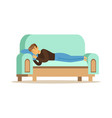 Young man sleeping on the sofa relaxing person