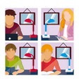 young people studying at home vector image vector image