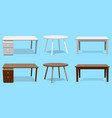 empty table set wooden plastic white vector image