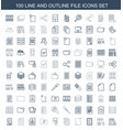 100 file icons vector image vector image