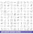 100 smart money icons set outline style vector image vector image