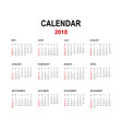 2018 calendar isolated on white background vector image vector image