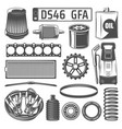 auto spares and oil canister number plate icons vector image vector image