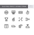 basketball sport simple line icons vector image