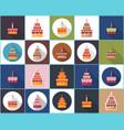 birthday cake flat icon vector image vector image