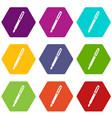 black fountain pen icon set color hexahedron vector image vector image