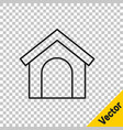black line dog house icon isolated on transparent vector image vector image