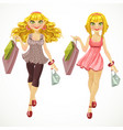 blond with shopping bags vector image vector image