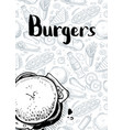 burgers vintage hand drawn poster vector image vector image
